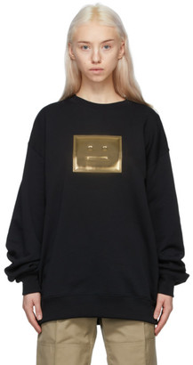 Acne Studios Black and Gold Metallic Patch Sweatshirt