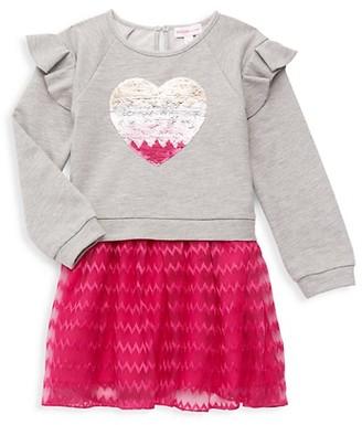Design History Little Girl's Ruffle Heart Sweater Dress