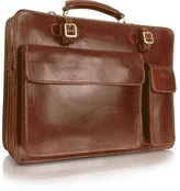Chiarugi Handmade Brown Genuine Leather Double Gusset Briefcase