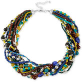 Macy's Haskell Necklace, Silver-Tone Blue and Green Bead Multi-Row Necklace