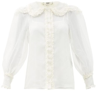 Fendi Ruffled Round-collar Silk-crepe Blouse - White
