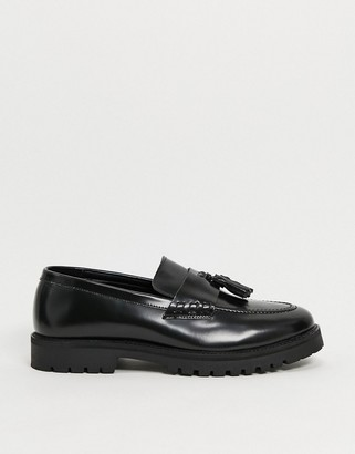Silver Street chunky sole loafers in black leather