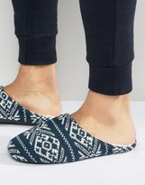 Asos Slip On Slippers in Navy Holidays Fairisle