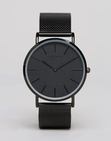 Reclaimed Vintage Inspired Classic Mesh Strap Watch In Black