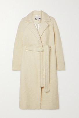Ganni Belted Double-breasted Wool-blend Boucle Coat - Off-white