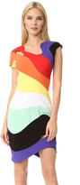 Thierry Mugler Short Sleeve Rainbow Dress