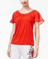 Thalia Sodi Flutter-Sleeve Top, Created for Macy's