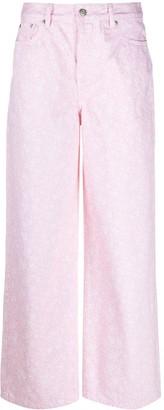 Ganni Cherry Blossom Wide-Leg Jeans