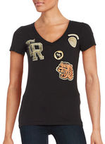 True Religion Printed Patch Slim V-Neck T-Shirt