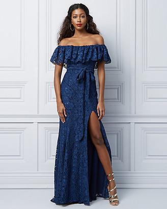 Le Château Lace Off-the-Shoulder Ruffle Gown