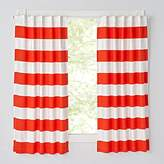 "Set of 2 Cabana Stripe Red 63"" Blackout Curtains"