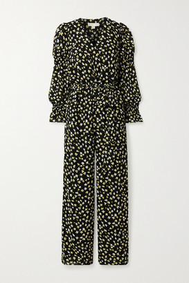 MICHAEL Michael Kors Lilli Wrap-effect Floral-print Chiffon Jumpsuit - Black