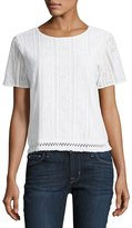 MICHAEL Michael Kors Fringed-Hem Short-Sleeve Crochet Tee, White