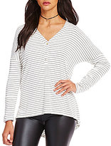 GB Striped Knit Button-Front Tunic