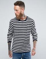 Nudie Jeans Tony Skewed Stripe Knit Black & White