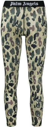 Palm Angels Logo-Waistband Leopard Leggings
