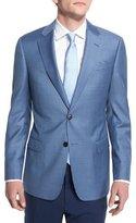 Armani Collezioni G-Line Small Box-Check Wool Sport Coat, Blue