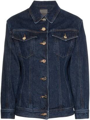Gold Sign Fitted-Waist Denim Jacket