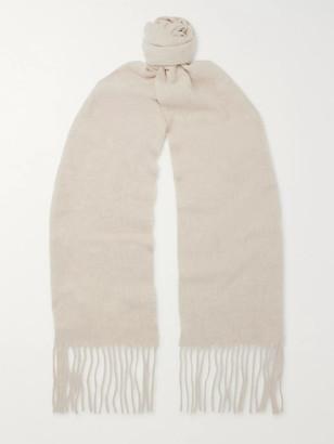 Acne Studios Skinny Fringed Melange Wool Scarf