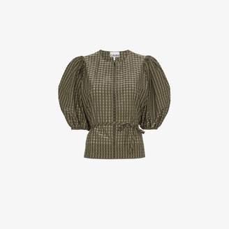Ganni checked tie waist blouse