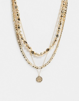 ASOS DESIGN multirow necklace with dipped pearls and coin pendant in gold tone