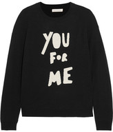 Chinti and Parker You For Me Printed Merino Wool Sweater - Black