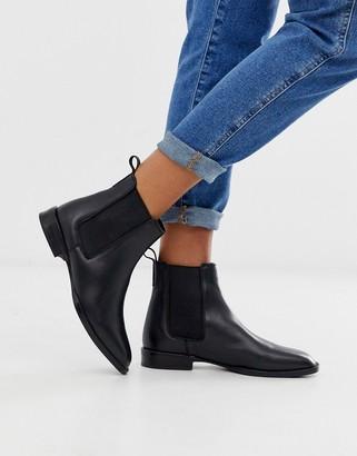 ASOS DESIGN April leather chelsea boots in black