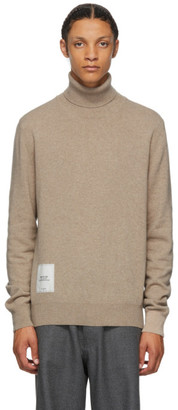 Maison Margiela Tan Recycled Cashmere Gauge 12 Turtleneck Sweater