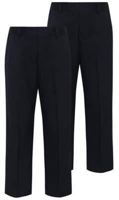 George Boys Navy Plus Fit Half Elastic School Trouser 2 Pack