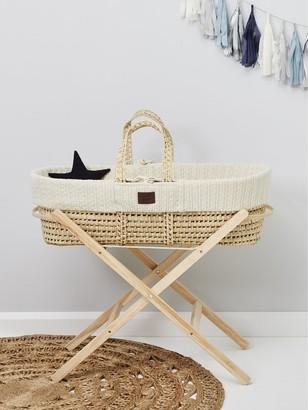 The Little Green Sheep Organic Knit Moses Basket Set - Cream