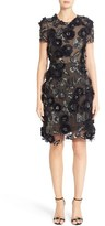 Marchesa Cap Sleeve Tulle Dress with 3D Floral Embellishments