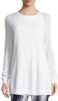 St. John Openwork-Stitch Crewneck Raglan Sweater, Bianco