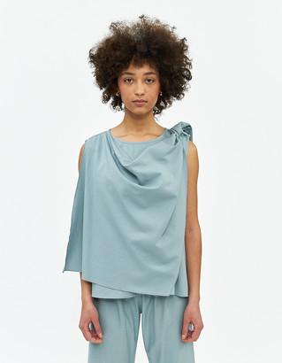 Base Range Women's Dahl Wrap Top in Buja Blue, Size Extra Small | Silk