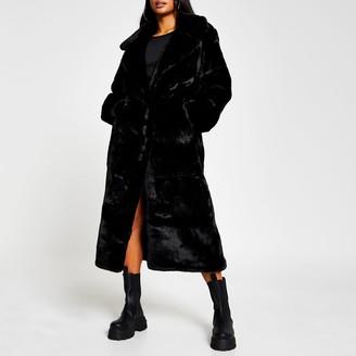 River Island Womens Petite Black faux fur long line coat