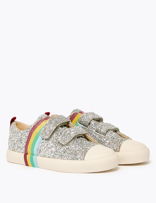 Marks and Spencer Kids' Freshfeet Rainbow Glitter Trainers (5 Small - 12 Small)
