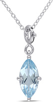 Julianna B 3 3/4 CT TW Topaz Sterling Silver Enhancer Solitaire Pendant Necklace