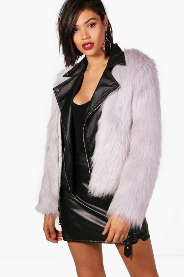 boohoo Boutique Faux Fur & PU Biker Jacket