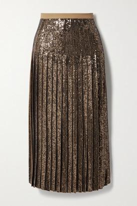 Michael Kors Collection Pleated Sequined Silk-crepe Midi Skirt - Sand