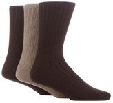 Maine New England Pack Of Three Brown And Light Brown Ribbed Socks With Lambswool