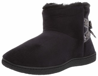 Isotoner Women's Memory Foam Nora Boot Faux Fur and Bow Detail with Indoor Outdoor Comfort Sole Slipper Black