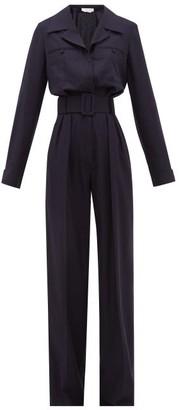 Gabriela Hearst Weil Belted Silk-blend Jumpsuit - Womens - Navy