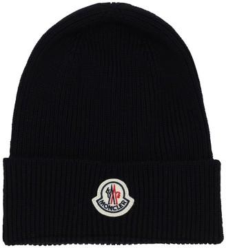 Moncler Logo Virgin Wool Rib Knit Beanie