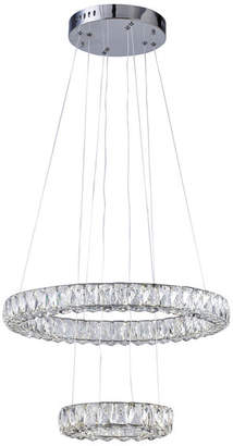 clear Design Living Crystal Triple Sided Double Ring LED Light Fixture w/ Chrome Fra