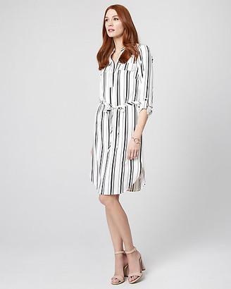 Le Château Stripe Stretch Twill V-Neck Shirtdress