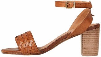 Find. Block Heel Leather Weave Ankle Strap Sandals Beige Tan) 3/ 3.5 UK