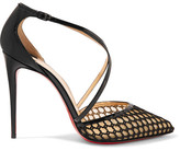 Christian Louboutin Cross Blake 100 Patent-leather And Embroidered Mesh Pumps - Black