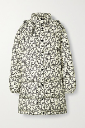Moncler Gaou Hooded Printed Quilted Shell Down Coat - Ivory