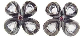 Rose Cut Flower Button Stud Earrings
