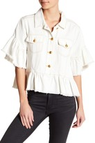 Tov Trucker Cropped Ruffle Accent Jacket