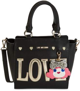 Love Moschino Face Charm Faux Leather Satchel